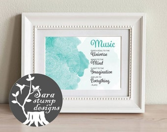 Plato Quote / Mandala Watercolor / Music Quote / Instant Download In Teal