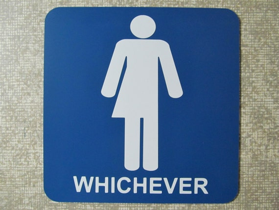 funny unisex bathroom restroom sign self adhesive gender neutral common bath whichever equality unbiased trans