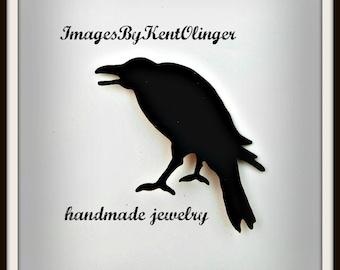 crow brooch, raven brooch, crow pin, raven pin, Goth raven, goth crow, crow jewelry, raven jewelry, rook, corvid, black crow, cawing crow