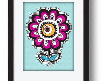 FLOWER POWER PINK mounted & ready to frame
