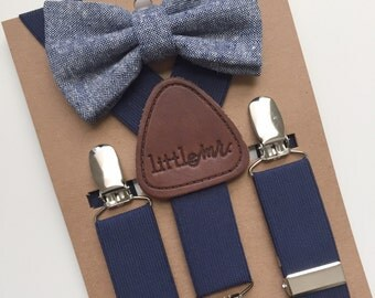 Baby Bow Tie and Suspenders, Toddler Bow Tie and Suspenders, Navy Bow Tie Navy Suspenders