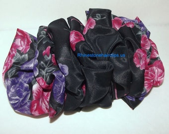 Becky Bows ~OOAK Barrette Hand crafted huge scarf BIG hair bow Women or Girls giant black purple pink roses  US seller