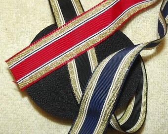 """Puppy Bows ~ ribbon craft supplies  7/8"""" red/gold, black/gold, navy/gold 16 yards"""