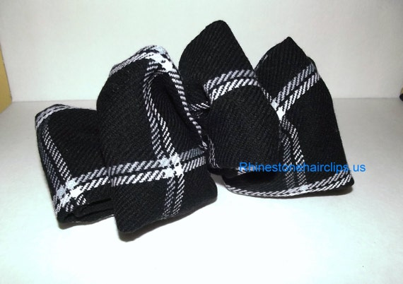 Becky Bows ~OOAK Barrette Hand crafted huge scarf BIG hair bow Women or Girls giant black white