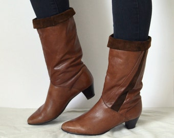Brown leather Boots calf high knee high suede womens boho bohemian mod warm lined heels Vintage 90s UK 5.5 US 8 EU 38
