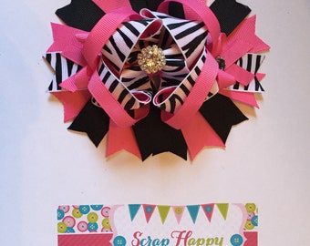 Hot Pink, Black, and Zebra Over the Top Hair Bow