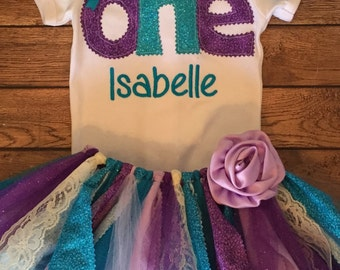 Purple and Turquoise Birthday Tutu Outfit With Name Embroidery