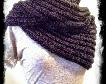 hipster gift, black knit scarves for men,handmade scarf men or women, infinity scarf, circle scarf in black