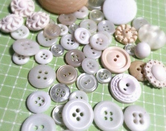 LOT 1: 50 White Vintage Buttons