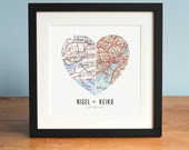 Wedding Gift Art, Anniversary Gift, Heart Map, Custom Wedding Gift, Anniversary Print, Gift for Couple, Wedding Map Art