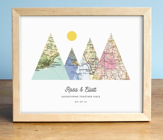 adventure to her print 4 map mountain print personalized