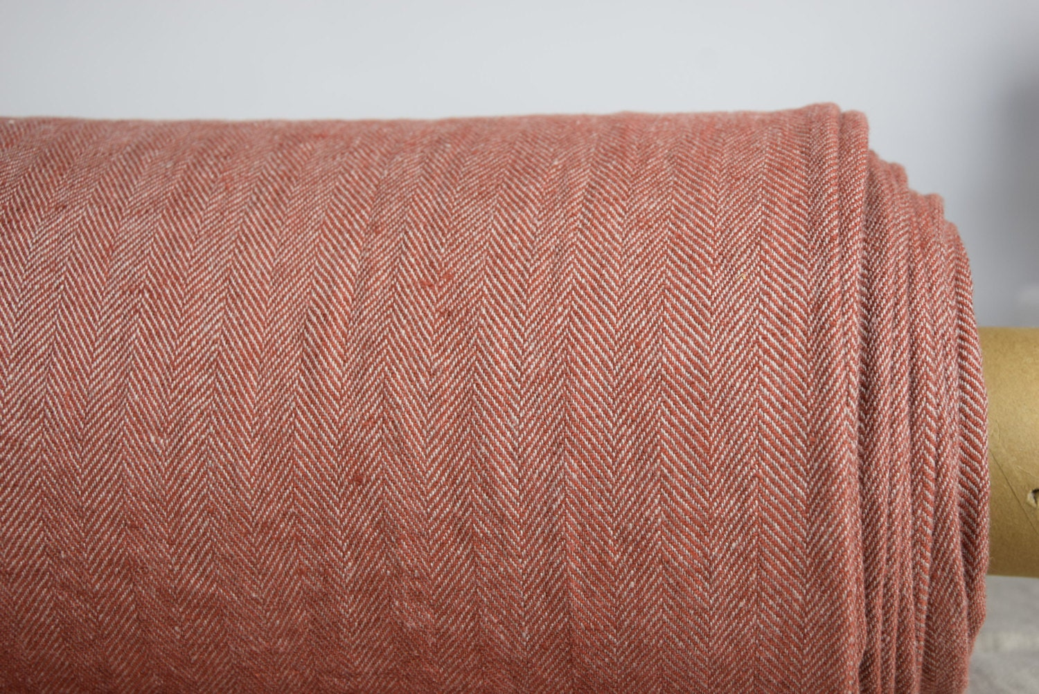 Pure 100% linen fabric 240gsm. Herringbone tweed, not dyed flax ...