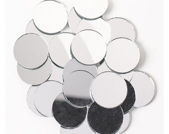Shiny round mirrors, small mirrors, mirror glass crafting