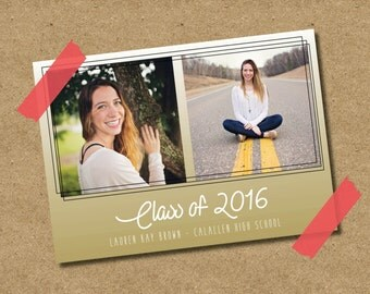 Gradient Graduation Announcement and/or Invitation - Print at Home