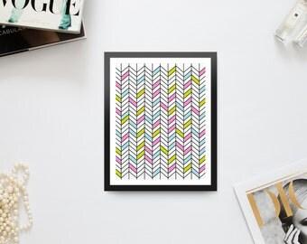 Tropical Color Block Chevron Print
