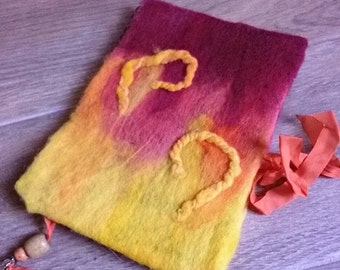 Flaming felted journal sketchbook diary unlined spiral notebook