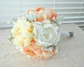 Wedding Bridal Bouquet Coral Peach White Peony Dahlia Bridal Bouquet Lace Cork Grapevine Bark Handle Bouquet Rustic Wine Country Wedding