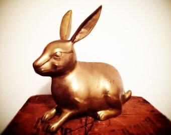 Engaging Vintage Large Brass Bunny Rabbit