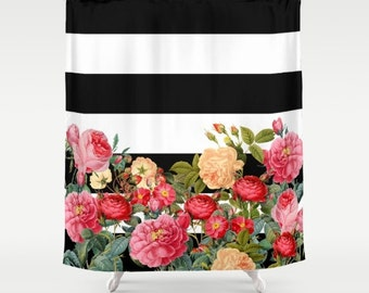 Black and White Stripe with floral Shower Curtain - Chic Designer Decor  - bold retro roses, bathroom, modern home, decor