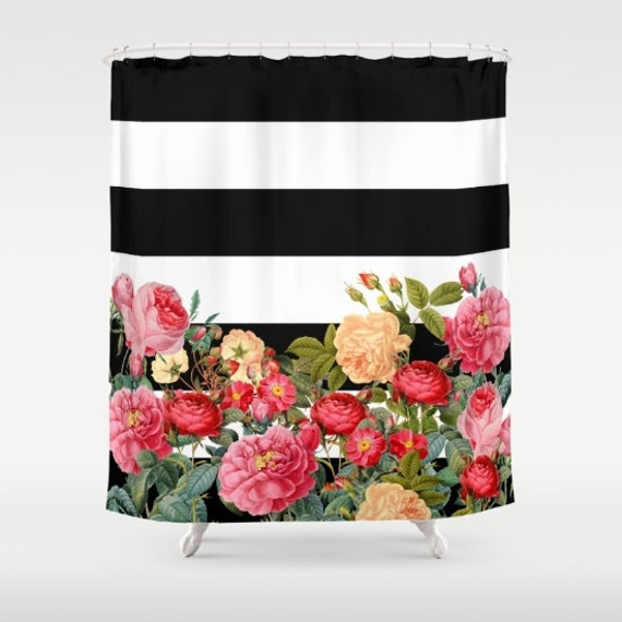 Black And White Stripe With Floral Shower Curtain Chic