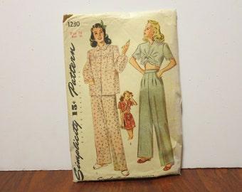 "Vintage 1940s Simplicity pattern 1230 pajamas size 16 bust 34"" waist 28"" hips 37"" original directions"