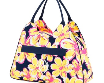 Beach Floral Beach Bag with Monogram
