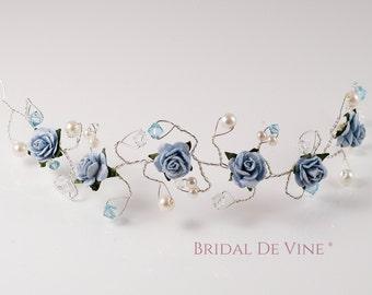 Pale Light Blue Aquamarine Hair Vine  Bridesmaids Hair Accessory Hair Up Bun Wrap
