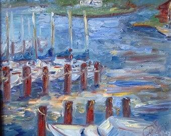 """Calvert Marina, 16"""" x 20"""", oil on canvas"""