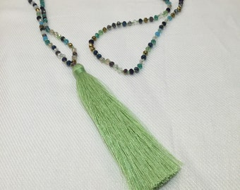 Tequila Lime - Glass Beaded Tassel Necklace