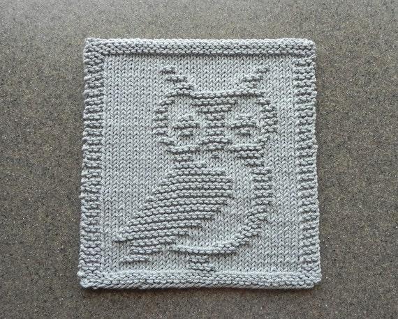 Knit Pattern For Owl Dishcloth : OWL Knit Wash Cloth or Dishcloth Light Gray 100% Cotton Dish