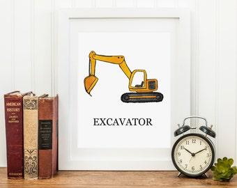 Excavator Construction Art Print, 8x10 Instant Download, Printable, Item 230