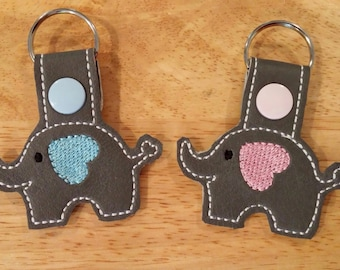 Baby Elephant Snap Tab  Key Fob Keychain Embroidered Baby Shower Favor
