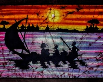 Sailing on the sunset. Wall hanging painting, size is 40/25 inches