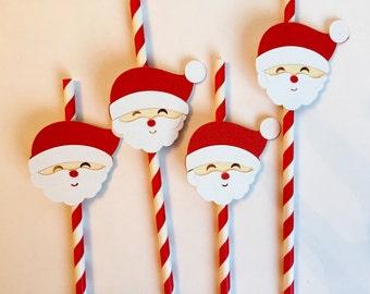 Santa straws, Christmas straws, North Pole straws