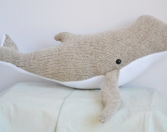 Upcycled Wool Whale Light Taupe/Tan Large