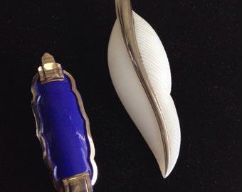 Art Deco glass dress clips ,white feather and blue geometric