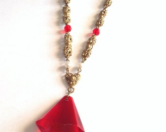 Red glass drop necklace