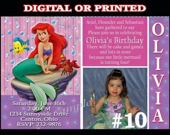 Ariel The Little Mermaid Printable Birthday Invitation with Photo You Print Digital OR Printed Ariel invitation
