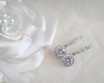 Diamond dangle earrings diamond pendant earrings bridal diamond earrings cubic zirconia earrings round diamond halo earrings silver earrings