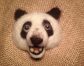 Panda Brooch - Needle Felted Animal badge - panda jewellery