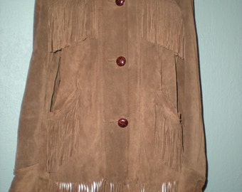 Vintage 1970s Brown Suede Leather Fringe Jacket Size Small Men/Womens size 10 Hippie Woodstock Neil Young