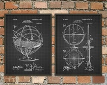 Armillary Sphere Patent Print Set Of 2 - Vintage  Armillary Sphere Illustration - Spherical Astrolabe - Armilla - Armil - Astronomy Print