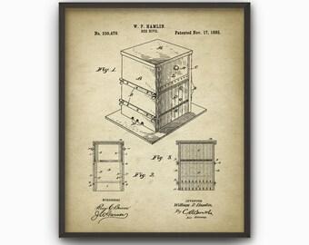 Beehive Patent Print - Vintage 1885 Beehive Design - Melittology Beekeeping Poster - Honeycomb - Beehive - Honey Bee - Beekeeper Gift Idea