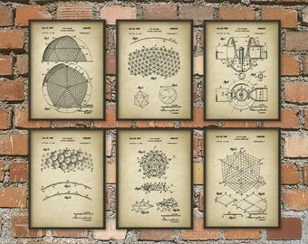 Buckminster Fuller Complete Patent Print Set of 6 - Building Design - Architecture Geodesic Dome Patent - Architectural Biosphere