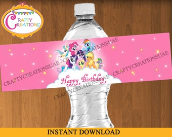 My Little Pony Water Bottle Label - My Little Pony labels - My Little Pony Birthday Decorations - Printable - INSTANT DOWNLOAD - CraftyUAE