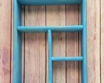 Shadow Box Wall Shelf Turquoise Wood Farmhouse Vintage Up Cycled Eco Friendly READY TO SHIP
