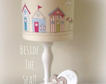 Handmade Fabric Drum Beach Hut Nautical Seaside Lampshade lighshade