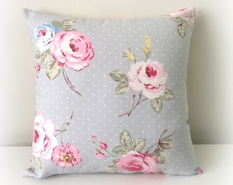 "Handmade English Rose Grey Floral Cushion Cover Pillow 16""  Cotton Shabby Chic"