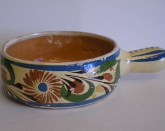 Vintage Tlaquepaque Pottery Bowl with Handle Charming Kitsch Decor Primitive style Handmade