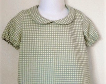 Checked Linen Blouse with Peter Pan Collar